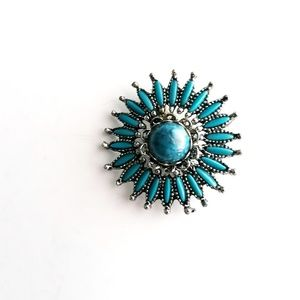 Southwestern Faux Turquoise Vintage Brooch Pin
